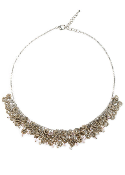 Swarovski crystal accented modern short bib necklace, multi finish