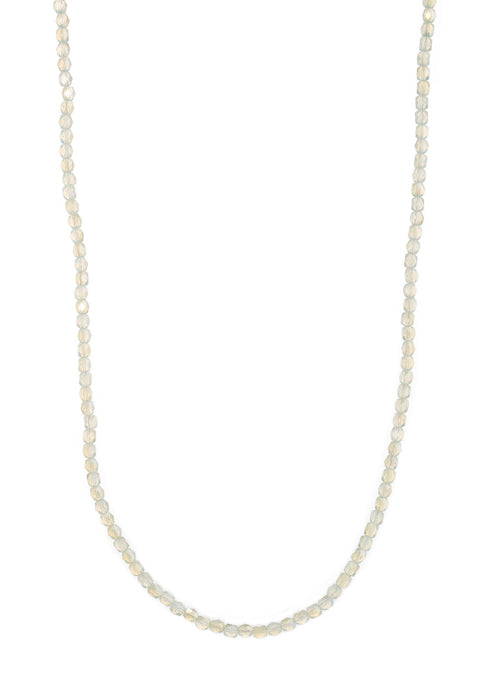 Long strand Swarovski crystal necklace, Barrel cut, Ice, White gold finish