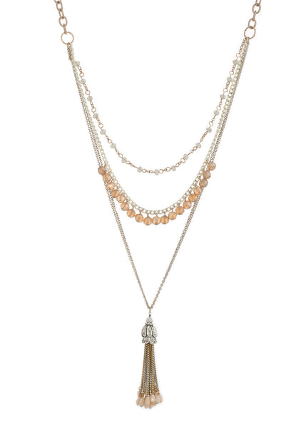 Long or short multi layer necklace with Swarovski crystals, Multi finish, Nude