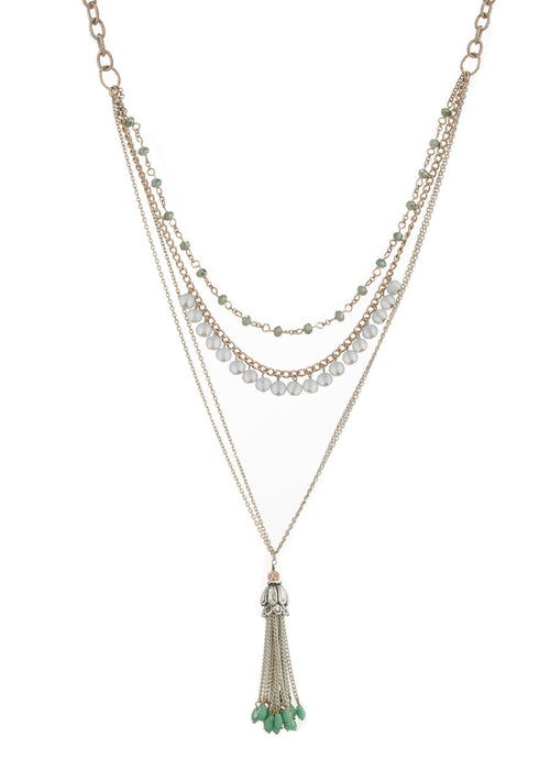 Long or short multi layer necklace with Swarovski crystals, Multi finish, Mint