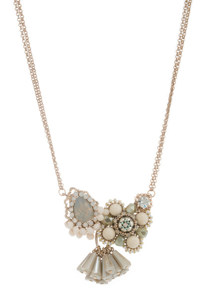 Victorian short necklace with Gray opal and pillar cut Swarovski crystal and Agate, Antique Gold finish