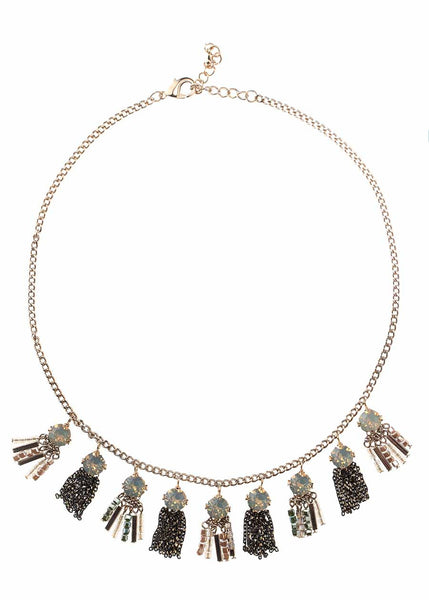 Nine Round Gray Opal  Swarovski crystal accented bib statement necklace, Antique gold finish