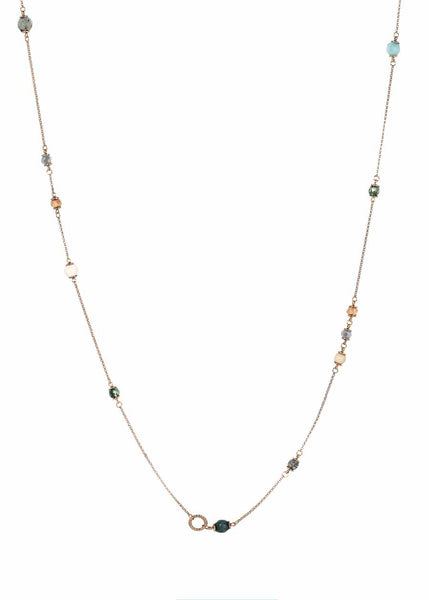 Gaia short or long necklace accented with Semi precious stones, Antique gold finish