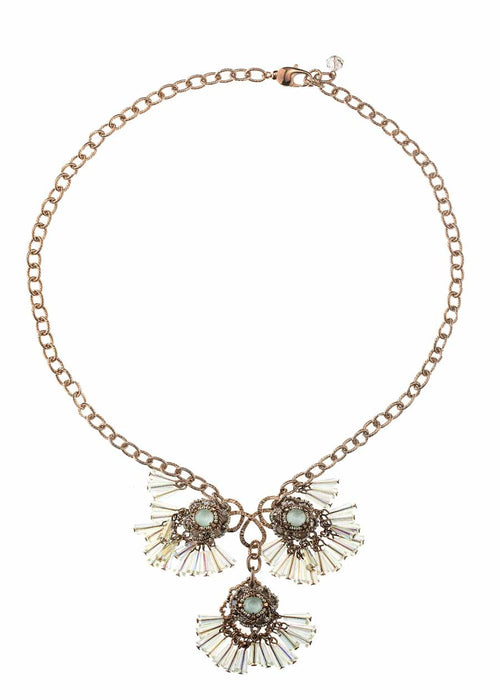 Florentine drop Necklace with pillar cut Swarovski crystals, ice mix