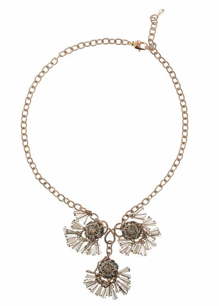 Florentine drop Necklace with pillar cut Swarovski crystals, black diamond mix