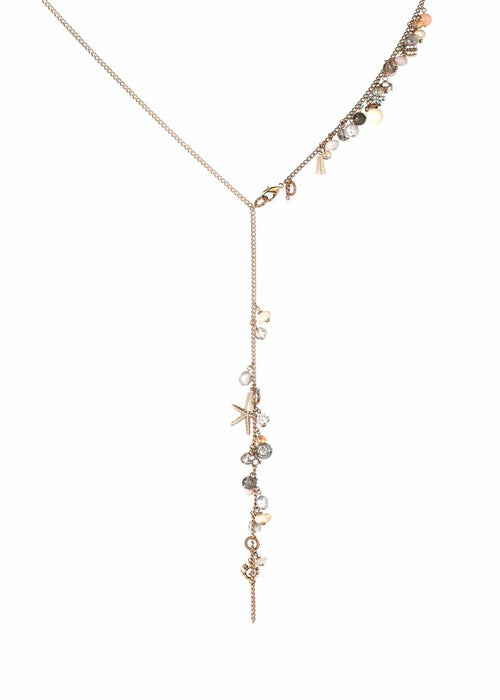 The happy chain of event long necklace with charms, can be worn 3 different ways, Neutral mix