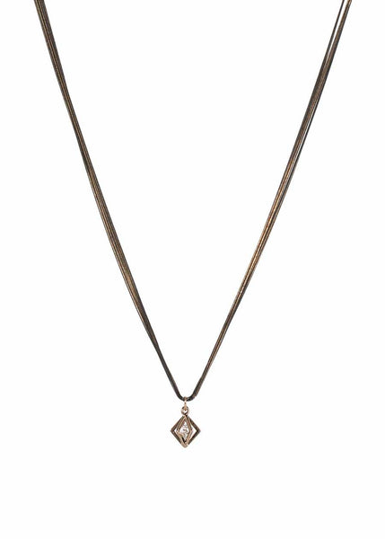 9 strands of double herringbone silky chain long necklace with crown jewel accent closure, Multi finish