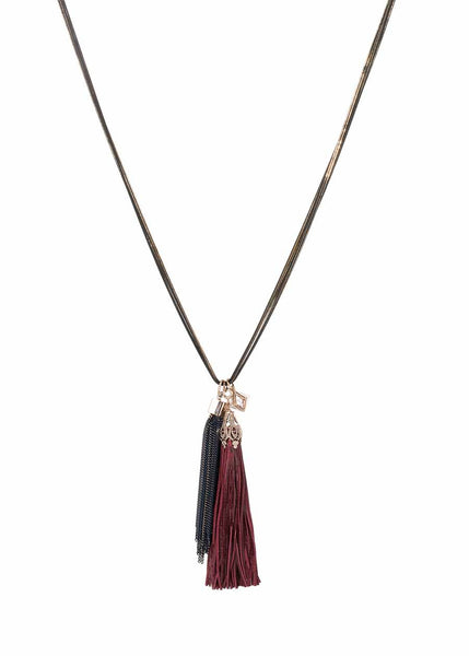 Athena necklace accented with coated chain tassel and the crown jewel, removable leather tassel. Gold/Gray combo, Multi finish