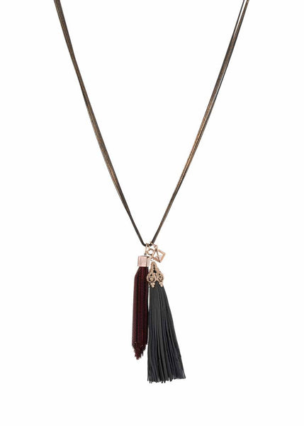 Athena necklace accented with coated chain tassel and the crown jewel, removable leather tassel. Midnight/Maroon combo, Multi finish
