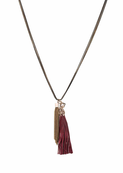 Athena necklace accented with coated chain tassel and the crown jewel, removable leather tassel. Maroon/Antique gold combo, Multi finish