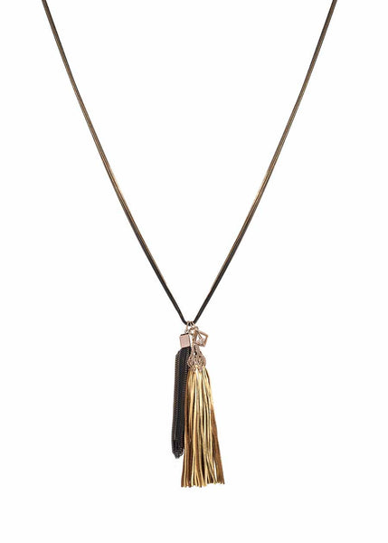 Athena necklace accented with coated chain tassel and the crown jewel, removable leather tassel. Maroon/Navy combo, Multi finish