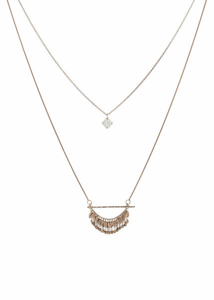 Laurel leaf long double necklace with antique set single round White Opal drop accent and twisted tube cut Swarovski crystal drops, Antique gold finish, Ice combo