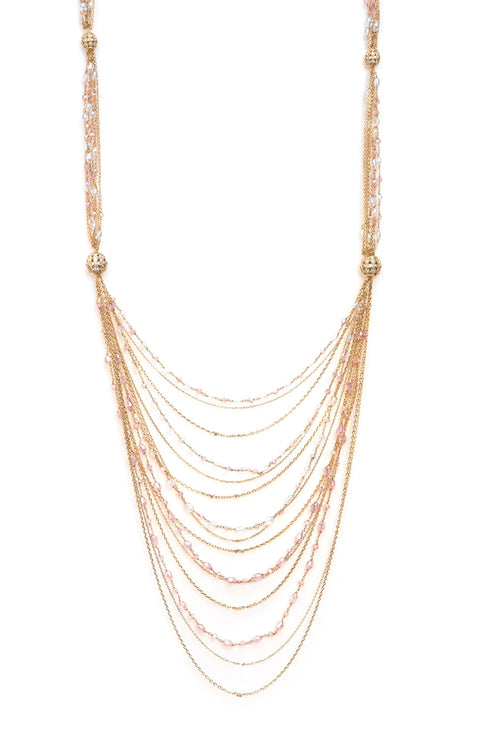 Swarovski ball Necklace with multi chain, Gold Pink
