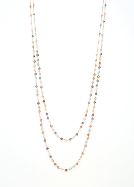 Double strands of lights of life necklace Multi in gold finish