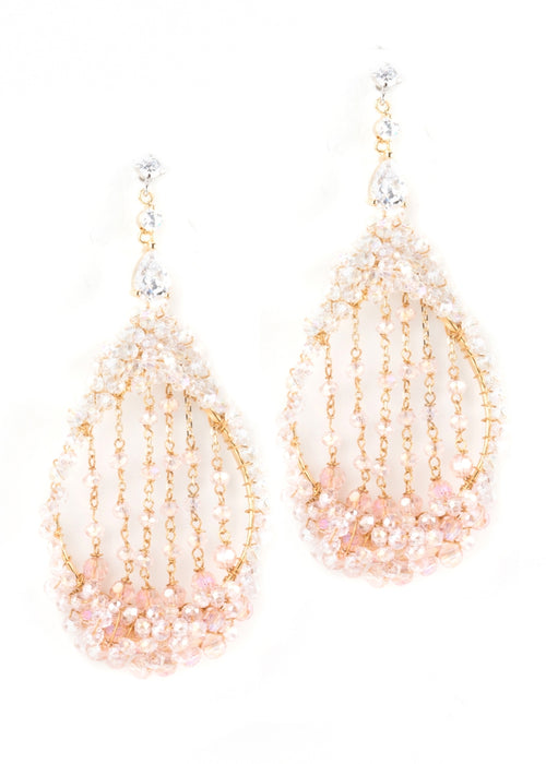 Lights on Harp earings in pink combo