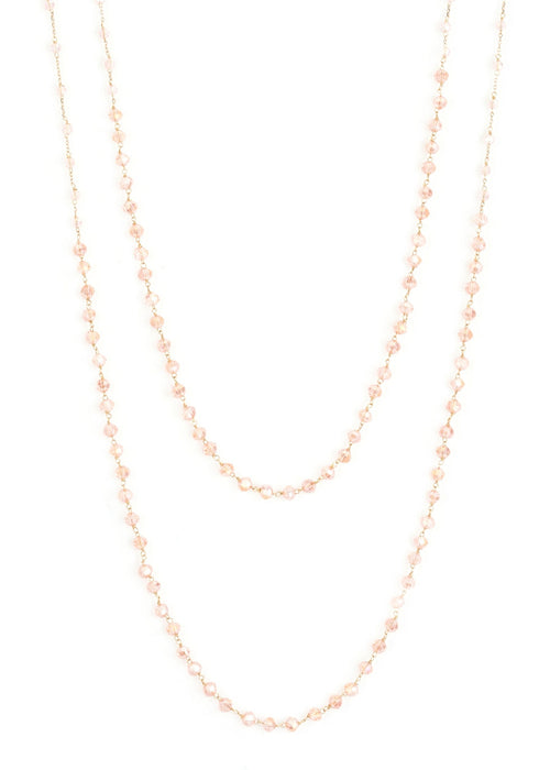 Double strands of lights of life necklace, Pink in gold finish