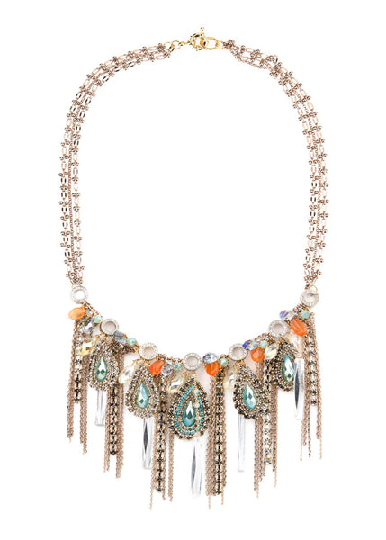 Dance in the rainforest statement bib necklace, aqua accent, Gold finish