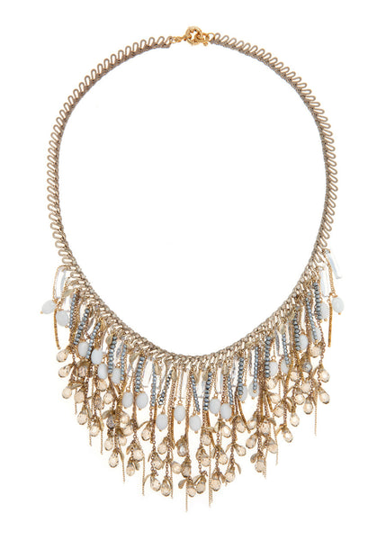 Theia Bib necklace with white coral and Swarovski crystals, Gold finish