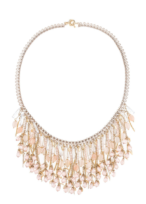 Theia Bib necklace with Rose Quartz and Swarovski Opal crystals, Gold finish