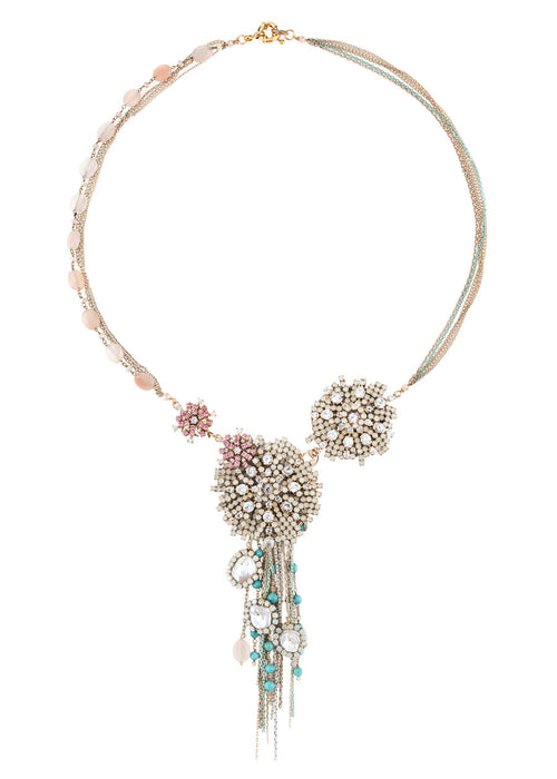 Opal crystal starburst statement necklace with chain details, Multi finish