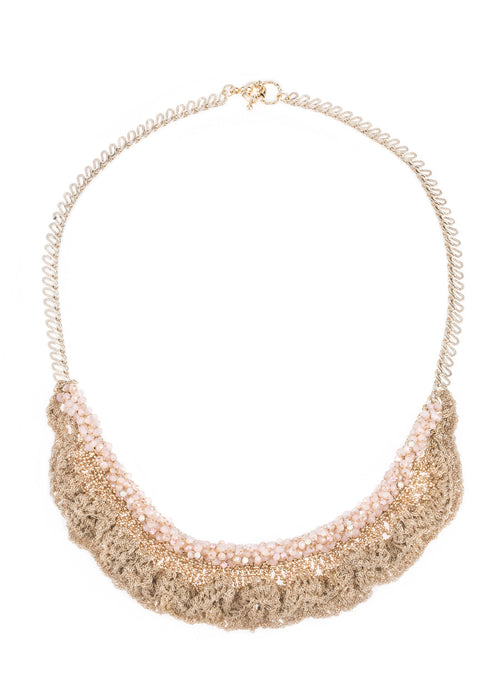 Hand crocheted lace statement necklace with Opal Swarovski crystal accent, Gold finish