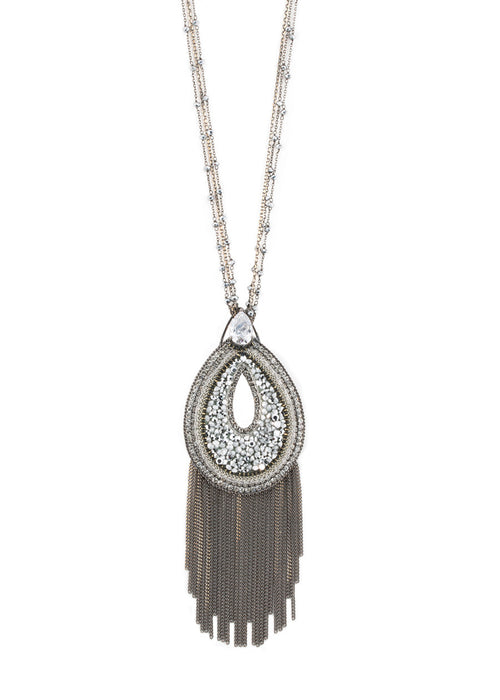 Paris Glam Hematite studded oval pendant long necklace with tear drop CZ accent, Multi finish