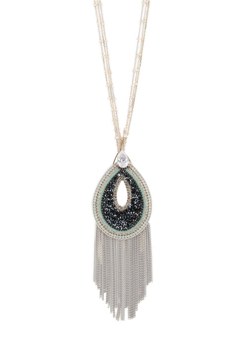 Paris Glam Black diamond studded oval pendant long necklace with tear drop CZ accent, Multi finish
