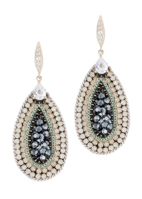 Paris Glam Black diamond studded oval Earrings with tear drop CZ accent, Multi finish