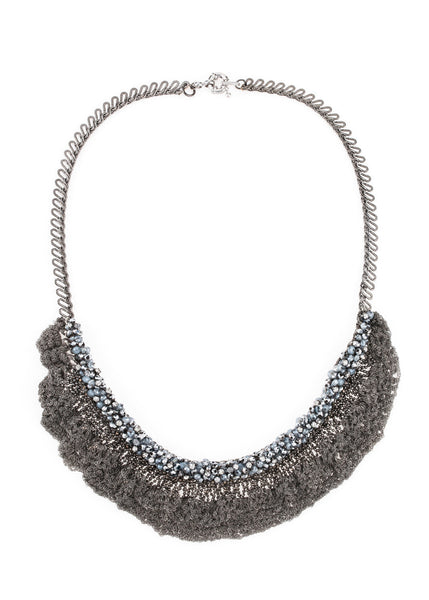 Hand crocheted lace statement necklace with Opal Swarovski crystal accent, Gun metal finish