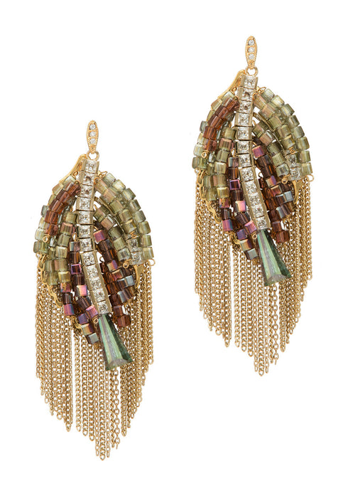 Angel's wing earrings with beautiful combination of Swarovski crystals, CZ and tassel detail, Gold finish