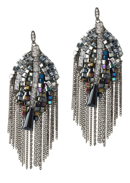 Angel's wing earrings with beautiful combination of Swarovski crystals, CZ and tassel detail, Gun metal finish