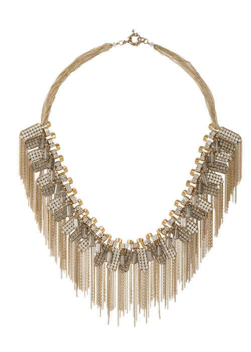 The ultimate statement necklace with high quality CZ and pillar cut Swarovski crystal details, Gold finish