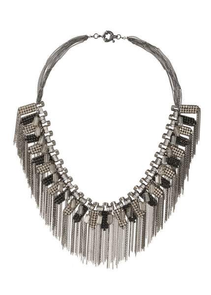 The ultimate statement necklace with high quality CZ and pillar cut Swarovski crystal details, Gun metal finish