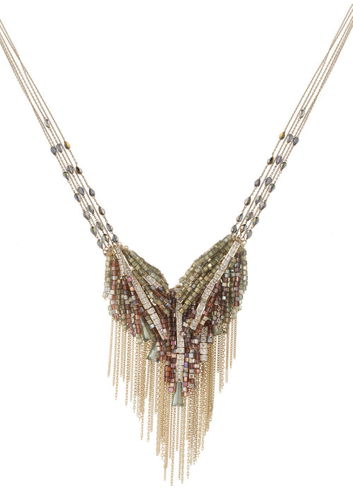 Angel's wing necklace with beautiful combination of Swarovski crystals, CZ and tassel detail, Gold finish