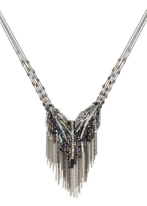 Angel's wing necklace with beautiful combination of Swarovski crystals, CZ and tassel detail, Gun metal finish