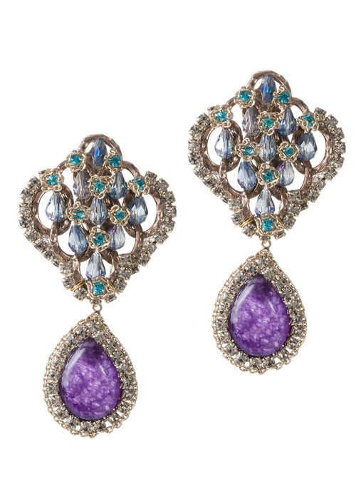 Vintage statement earrings studded with Swarovski crystals and an Amethyst drop, gold finish