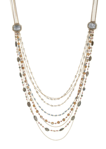 Glamorous modern vintage long necklace with Swarovski crystal framed  Labradorites accents and multi chain detail, Gold finish
