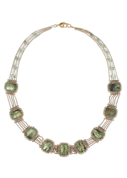Glamorous modern vintage short necklace with Swarovski crystal framed  Malachite's, Gold finish