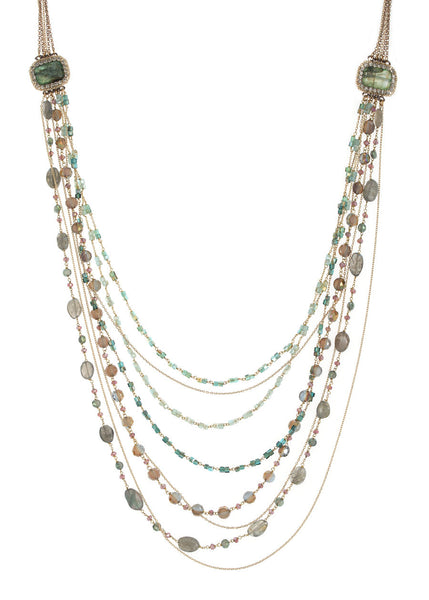 Glamorous modern vintage long necklace with Swarovski crystal framed Malachite accents and multi chain detail, Gold finish