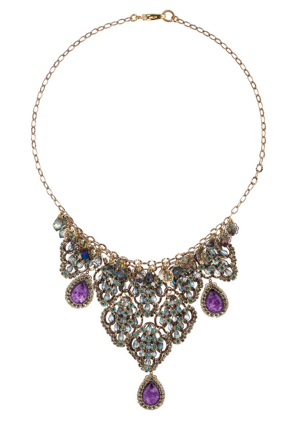 Vintage statement necklace studded with Swarovski crystals and Amethyst drops, gold finish