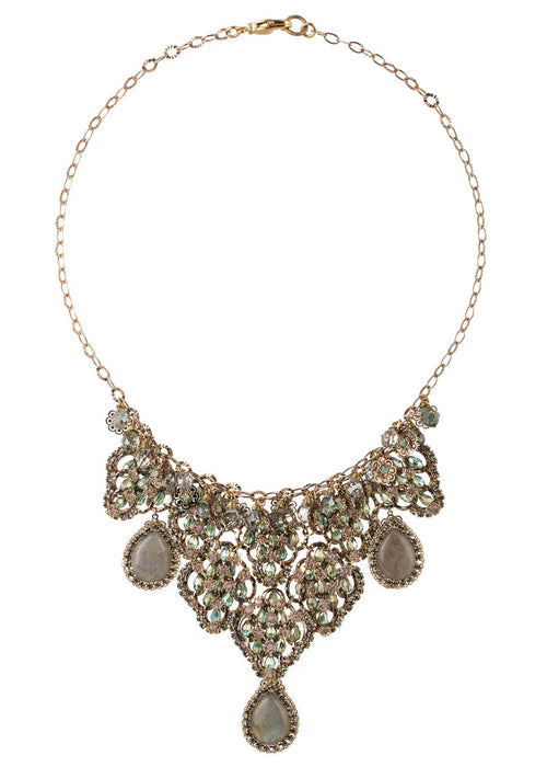 Vintage statement necklace studded with Swarovski crystals and Labradorite drops, gold finish