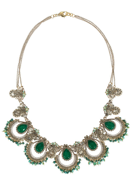 Roman statement necklace with Green Jade, Swarovski crystals and CZ, Antique Gold finish