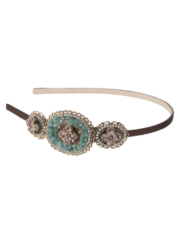 The garden of Versailles statement Headband, Antique gold finish, Blue Combo