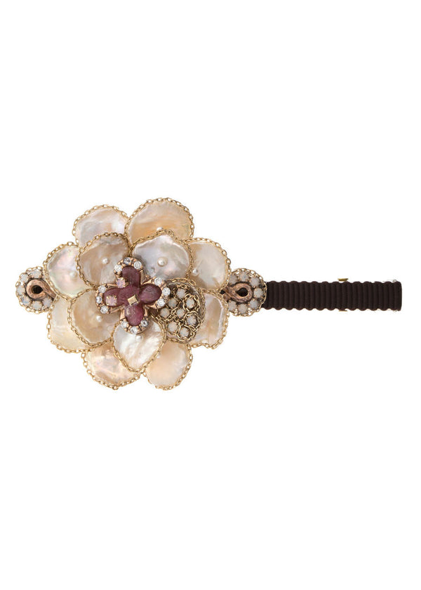 Opal Swarovski Crystal and Ruby accented Keshi pearls Barrette, Gold finish