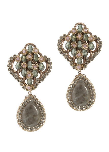 Vintage statement earrings studded with Swarovski crystals and a Labradorite drop, gold finish