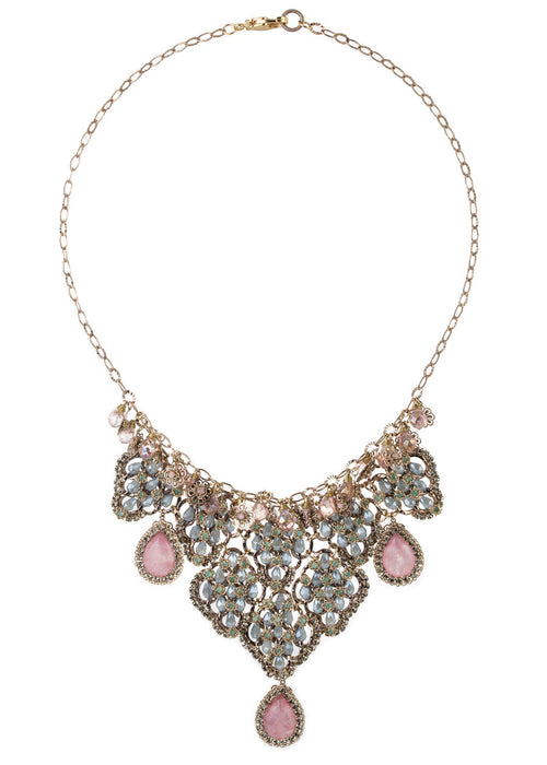 Vintage statement necklace studded with Swarovski crystals and Rose Quartz drops, gold finish