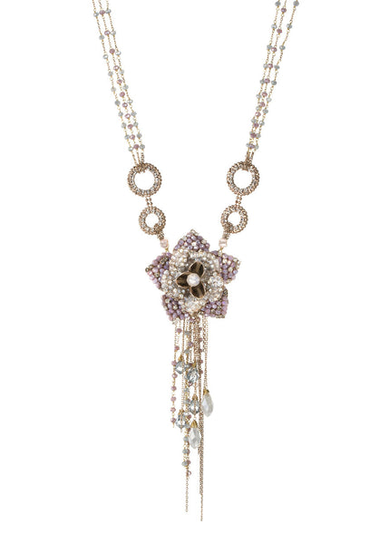 The flower of grace necklace in Pink combo, Gold finish