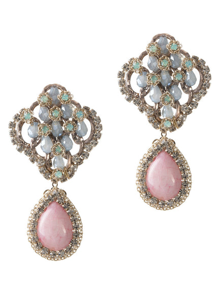 Vintage statement earrings studded with Swarovski crystals and a Rose Quartz drop, gold finish