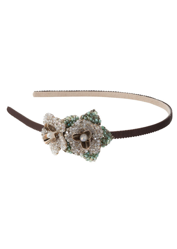 The flower of grace headband in Green combo, Gold finish
