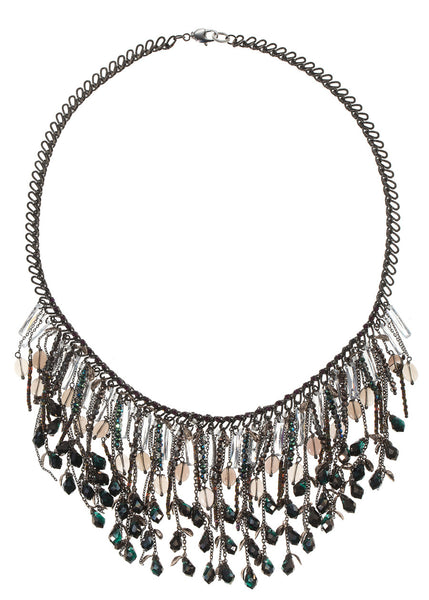 Theia Bib necklace with pillar cut high quality CZ and Swarovski crystals, Gun metal finish